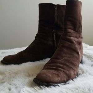 Brown Suede Coach Ankle Boots